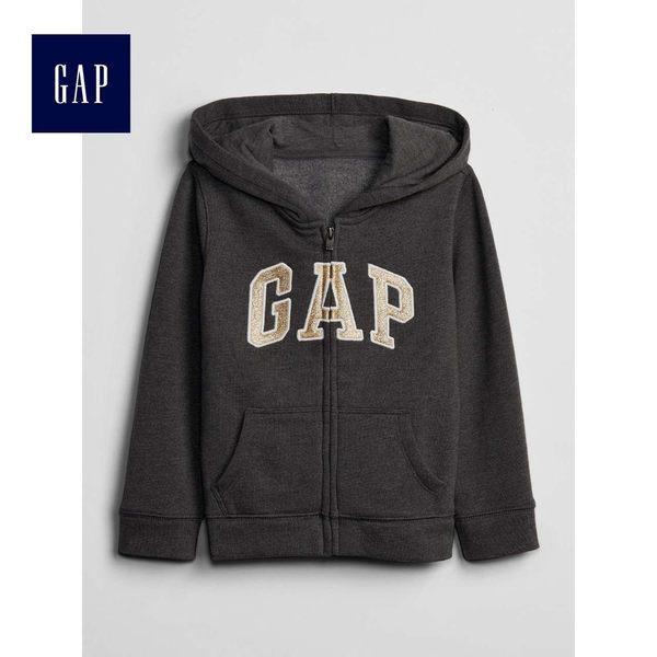 Gap女嬰幼童 Logo抓絨連帽長袖休閒上衣 259444-炭灰色徽標