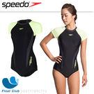 SPEEDO 女 運動連身短袖泳裝 (黑x檸黃)