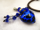 【Ruby工作坊】NO.28B藍精油雕花瓶中國結項鍊