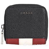 BALLY 經典紅白拼色壓紋牛皮零錢包(黑色) 1940607-01