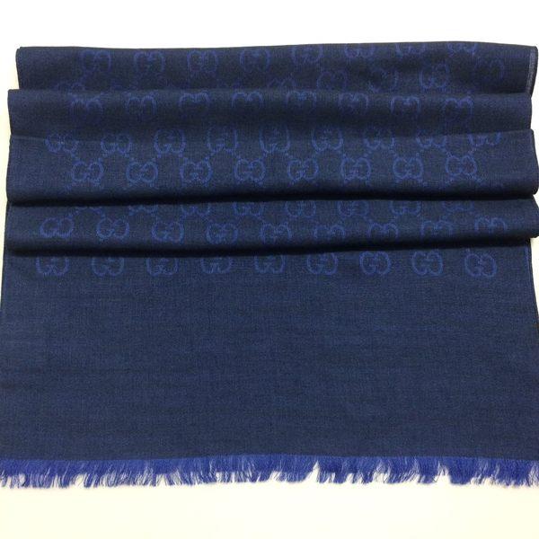 GUCCI全新真品 雙G緹花雙色 圍巾/披肩 (藏藍 / 寶藍色) ~現貨特價