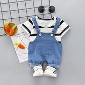 嬰幼兒衣服夏季男女兒童寶寶夏裝外出服短袖背帶褲套裝0-1-2-3歲4