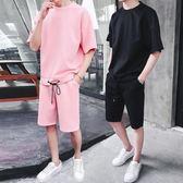 夏裝新款短袖套裝男韓版潮流寬鬆五分袖t恤男短褲運動休閒一套服   麥吉良品