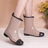 雨靴新款時尚中高筒雨鞋女春夏雨靴防滑水鞋可襪保暖成人水靴 伊蒂斯女裝