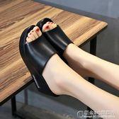 外穿厚底防滑涼鞋坡跟高跟平底一字拖防水台涼拖鞋女 概念3C旗艦店