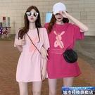中大尺碼短袖 網紅ins潮超火短袖t恤女夏季新款韓版百搭中長款寬鬆bf半袖上衣服 城市科技