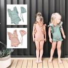 粉嫩荷葉袖露背連身泳裝 附泳帽 一件式 泳衣 玩水 橘魔法 女童 兒童 童裝 現貨