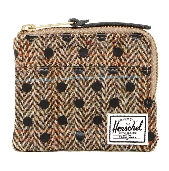Hsin 56折 現貨 Herschel Johnny Zip 英國 Harris Tweed 頂級 羊毛 黑色 白色 點點 錢包 拉鍊 零錢包