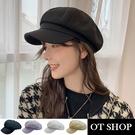 OT SHOP [現貨]帽子 八角帽 報童帽 素面 可調整帽圍 簡約百搭 日系復古文青 黑/淡紫/米/卡其 C2172
