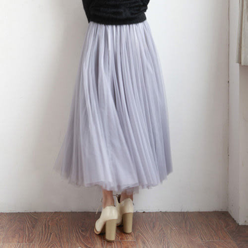 ZUCAS -  腰彈性澎澎份量2層紗感長紗裙【A-815】