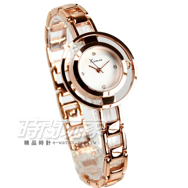 Kimio金米歐 晶鑽氣質典雅手鍊型腕錶 防水手錶 手鍊錶 手環 玫瑰金電鍍 女錶 K6100玫