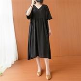 依多多 絲麻V領拼接黑色連身裙 1色(均碼)