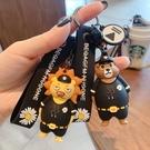 可愛生肖虎警察鑰匙扣環掛件酷汽車男士鑰匙圈圈背包掛鏈裝飾書包