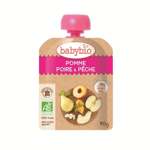 BABYBIO 有機纖果泥(蘋果洋梨) 90g