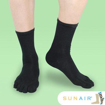 sunair 滅菌除臭襪子-中筒五趾襪 (L25~29) (黑) /SA2201