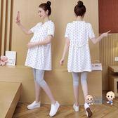 套裝 孕婦夏裝2019新款懷孕上衣服時尚套裝寬鬆短袖洋裝潮媽夏季t恤 多色