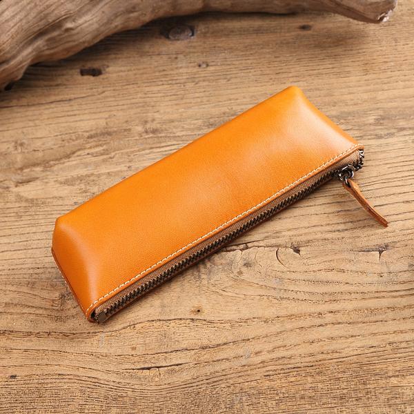 【Solomon 原創設計皮件】五色真皮筆袋 牛皮眼鏡盒 小物收納 拉鍊筆袋