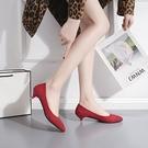 降價兩天 3cm細跟低跟尖頭單鞋女 絨面紅色新娘鞋 小清新裸色仙女鞋矮跟女鞋