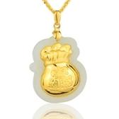 金鑲玉項鍊 和闐玉吊墜-進寶精緻生日情人節禮物男女飾品73gf109[時尚巴黎]