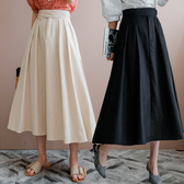 MIUSTAR 褲頭交叉釦造型壓褶鬆緊長裙(共2色)【NH1251】預購