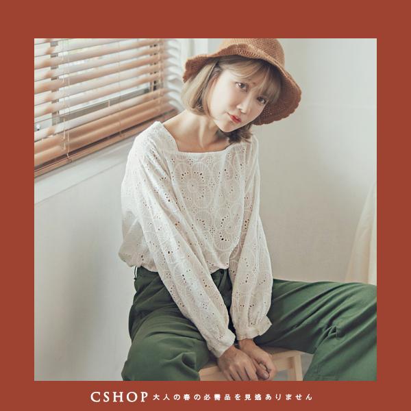 棉麻衫   優雅方領簍空刺花棉麻衫  四色-小C館日系
