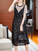大碼涼感洋裝~M-4XL胖妹妹大碼連身~大碼女裝寬松時尚韓版鏤空吊帶長裙兩件套NB11B莎菲娜