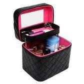 韓國女化妝包大號雙層專業便攜旅行化妝品收納大容量手提化妝箱 【PINKQ】