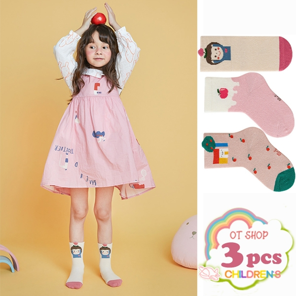 OT SHOP[現貨]三入組 兒童襪 女童 襪子 中筒襪 運動襪 精梳棉 卡通 童趣 蘋果 可愛粉嫩色系 M6028