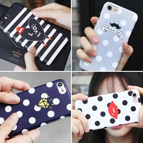 韓國 點點條紋 硬殼 手機殼│iPhone 5S SE 6 6S 7 8 Plus X XS MAX XR 11 Pro│LG G6 G7 G8 V20 V30 V40 V50│z8026