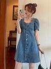 牛仔洋裝 大碼收腰顯瘦連身裙女胖妹妹夏季法式牛仔裙設計感小眾泡泡袖裙子 寶貝 618狂歡