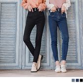 排釦造型口袋彈力窄管牛仔長褲 OrangeBear《BA6448》