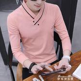 男士長袖t恤V領春夏季新款潮流韓版衛衣服外穿打底衫上衣   麥琪精品屋