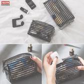 兩個裝  大容量簡約條紋塑料透明小號便攜多功能防水化妝包旅行洗漱包 k-shoes