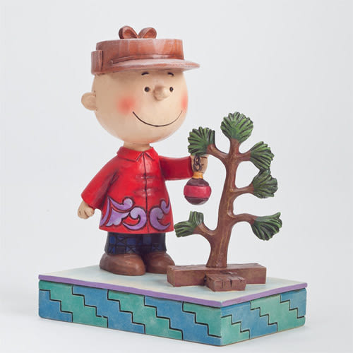 《Enesco精品雕塑》SNOOPY 查理布朗與聖誕小樹塑像-Charlie Brown with Pathetic Treet(Peanuts by Jim Shore)_EN69845