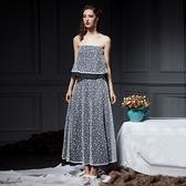 珍珠網紗抹胸露背上衣+長裙(兩件套)-歐美時尚優雅氣質女裙裝2色73lk2[巴黎精品]