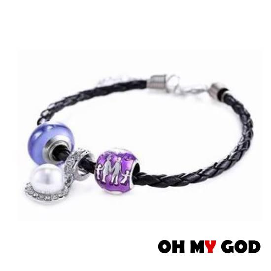 OH MY GOD紫色琉璃珠夜光手環