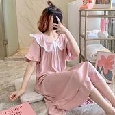 睡裙 睡裙女夏季睡衣可愛純棉短袖薄款全棉春秋大碼爆款家居服-Ballet朵朵