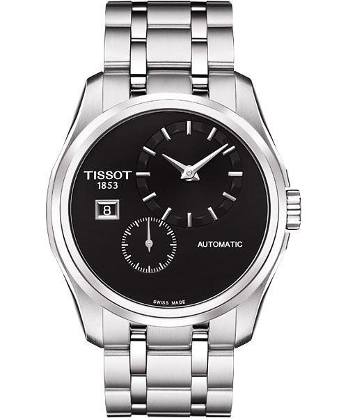 TISSOT 天梭 Couturier 建構師偏心系列機械手錶-黑/39mm T0354281105100