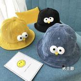 (交換禮物)新款兒童漁夫帽秋冬燈芯絨女童盆帽卡通男童1-3歲潮寶寶帽子