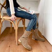 大尺碼女鞋34~43  帥氣鉚釘扣帶環磨砂皮低跟短馬丁靴中靴~3色