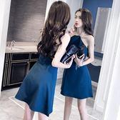 夜場裙子女 時尚氣質性感女裝 顯瘦露背漏肩掛脖連身裙   小時光生活館