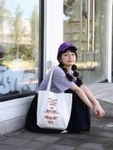手提袋女帆布單肩 韓版學生慵懶帆布包原宿大容量購物袋