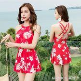 泳衣女分體裙式遮肚顯瘦保守鋼托小胸聚攏泳裝性感韓國溫泉裝 莫妮卡小屋