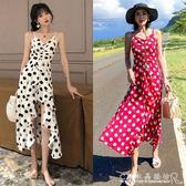 沙灘裙子超仙女海邊度假長裙泰國旅游波點吊帶洋裝 水晶鞋坊