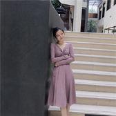 洋裝 氣質系帶V領高腰修身顯瘦純色簡約長袖中長裙 巴黎春天