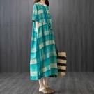 中大尺碼洋裝 韓版棉麻連身裙女夏裝新款寬鬆大碼遮肚子格子顯瘦短袖亞麻中長裙