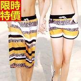 情侶款海灘褲(單件)-防水衝浪豹紋拚色時尚設計男女短褲66z43[時尚巴黎]