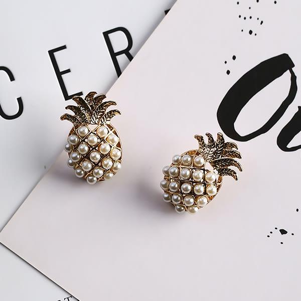 Qmigirl 金色立體3D鳳梨造型珍珠鑲嵌鏤空耳環【QG2474】