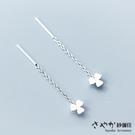 【Sayaka紗彌佳】925純銀小清新三葉心型草造型垂墜耳環(耳線款) -白金色
