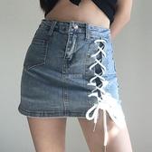 牛仔半身裙女夏繫帶綁繩歐美復古暗黑繫顯瘦防走光包臀高腰彈力潮 快速出貨 快速出貨